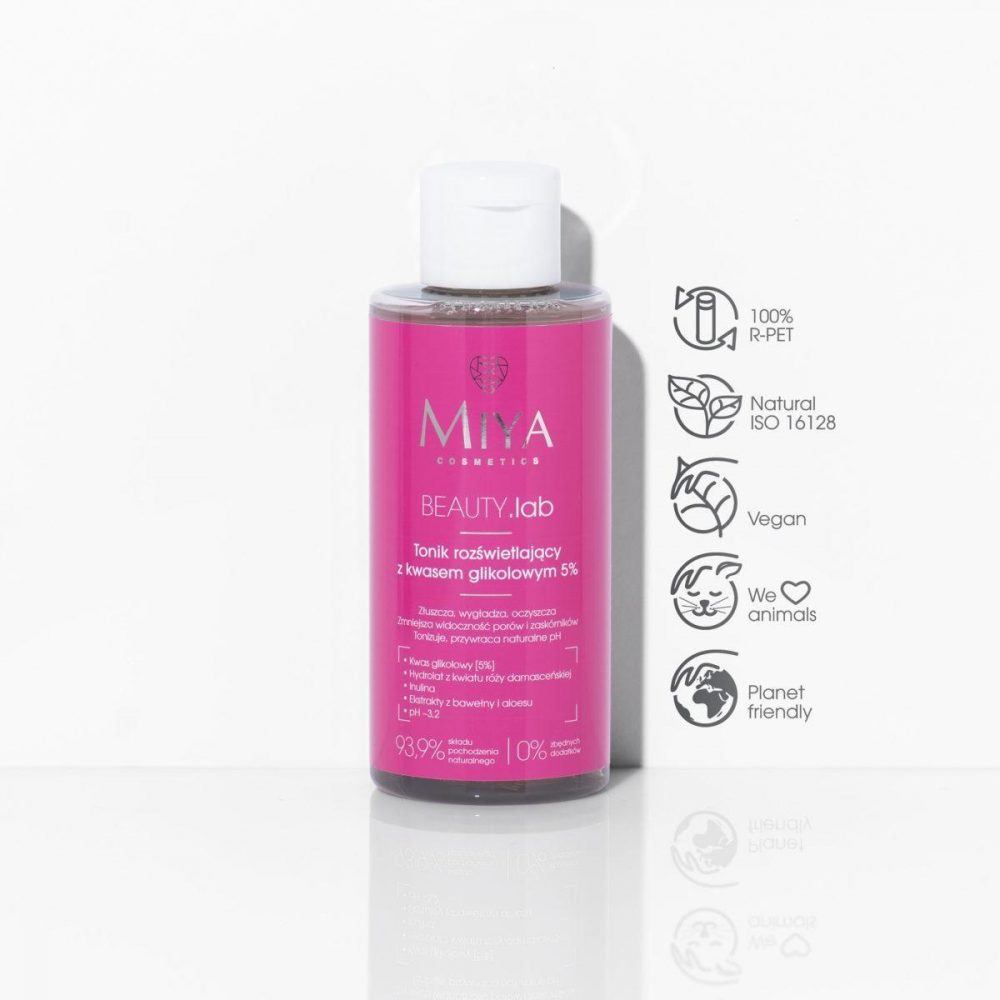 Brightening toning lotion with 5% glycolic acid